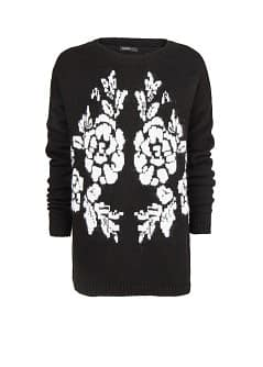 Mohair wool-blend floral sweater
