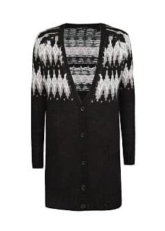 Fairisle-Cardigan aus Woll-Mix