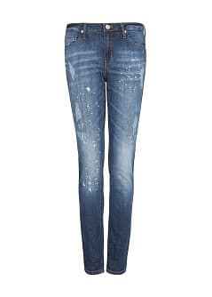 Slim-fit cropped dark wash jeans