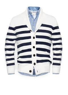 Shawl collar striped cardigan