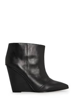 Wedge leather ankle boots