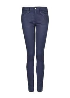 Super slim-fit coated blue jeans