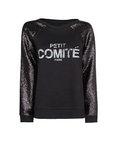 Typographic print sequined sweatshirt