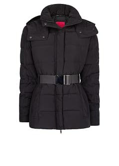 Belt feather down coat