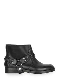 Biker leather ankle boot