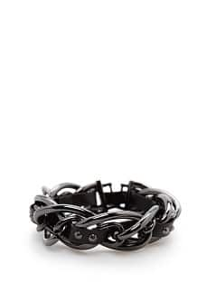 Faux leather ribbon chain bracelet