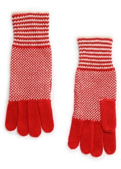 Two-tone knit gloves