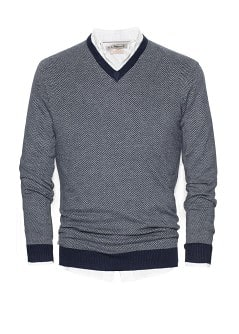 Herringbone cotton-blend sweater