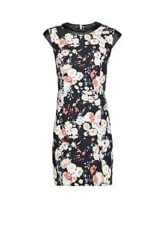 Contrast appliqué floral dress