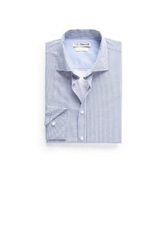 Slim-fit triangle print cotton shirt