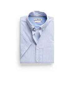 Slim-fit short sleeved striped shirt