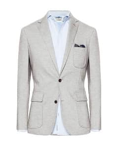 LEATHER ELBOW PATCHES PIQUÉ BLAZER