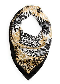 Animal print satin-finish scarf
