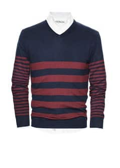 Striped cotton-blend sweater
