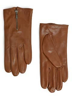 Zip fastening leather gloves