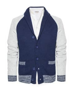 Bicolor wool cotton-blend cardigan