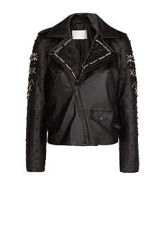Beaded leather biker jacket