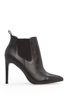 Elasticated panel leather ankle boots
