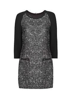 Herringbone wool-blend dress