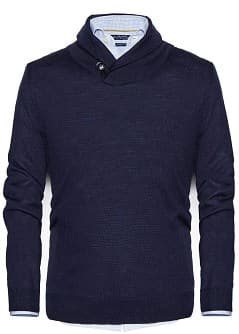 Shawl collar wool-blend sweater