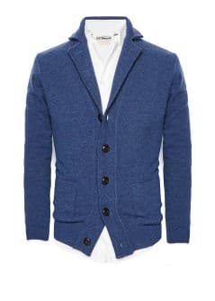 Notched lapel wool-blend cardigan