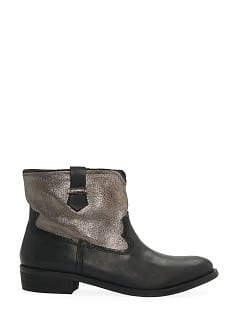 Metallic panel leather ankle boots