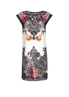 Lace appliqués print dress
