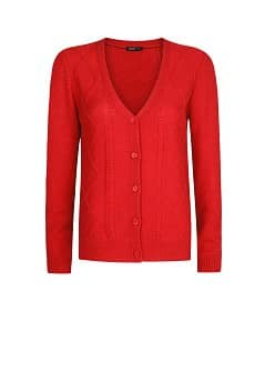 CABLE-KNIT V-NECKLINE CARDIGAN
