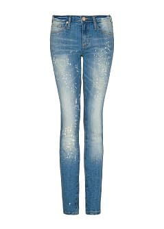 SLIM-FIT CROPPED JEANS MET VINTAGE WASSING