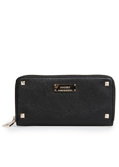 Studded saffiano effect wallet