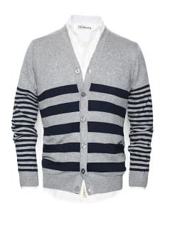 Striped cotton-blend cardigan