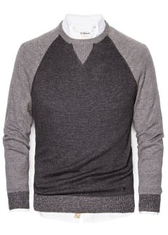 Contrast wool cotton-blend sweater