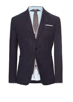Garment-dyed cotton-blend unstructured blazer