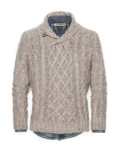Shawl collar cable-knit sweater