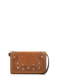 Studded suede shoulder bag