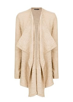Reverse knit waterfall cardigan