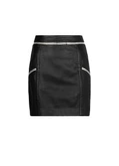 Metal trimming leather miniskirt