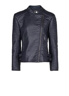 Quilted appliqué biker jacket