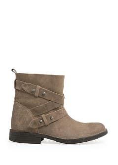 Cross strap suede ankle boots