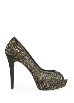 Lace peep-toe shoes