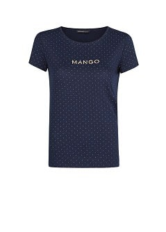 Embroidered logo polka-dot t-shirt