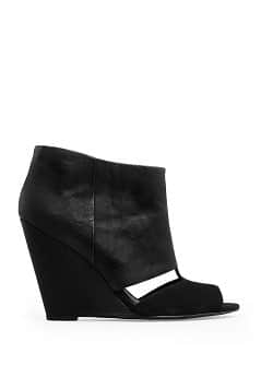 Peep-toe wedge ankle boot