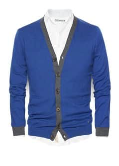 Contrast cotton cashmere-blend cardigan