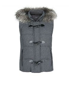 Faux fur appliqué feather down gilet