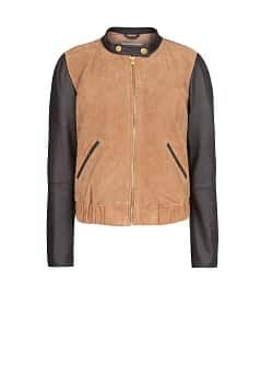 Combi leather bomber jacket