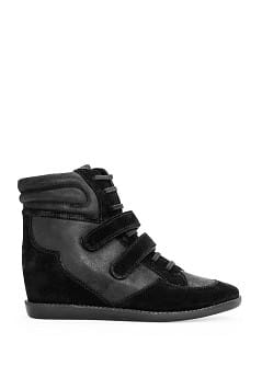 Leather wedge sneakers