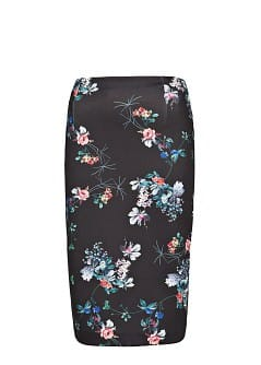 Neoprene-effect floral skirt