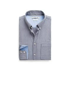 Straight-fit micro gingham check shirt