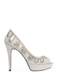 Beaded peep-toe shoes