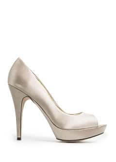 Satin-finish fabric peep-toe shoes